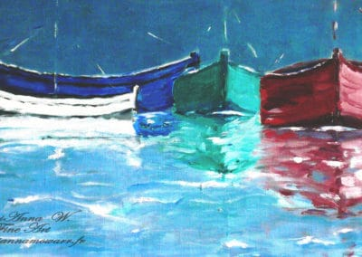 Boats, oil on canvas by © MariAnna MO Warr