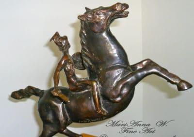 Rider, bronze, serpentine, brown patina by © MariAnna MO Warr