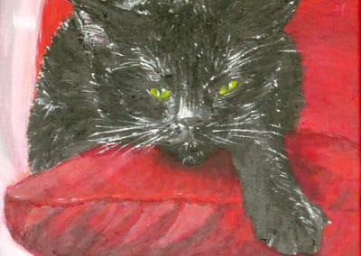Black Cat or Warrior's Rest, acrylic on canvas by © MariAnna MO Warr