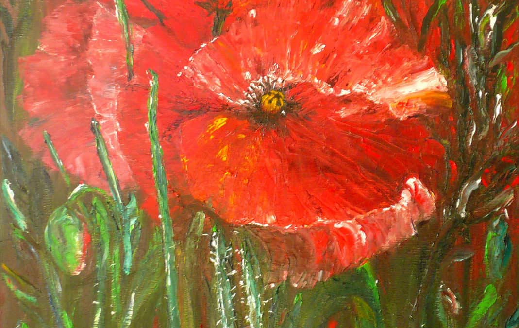Field of Poppies, oil on canvas by © MariAnna MO Warr