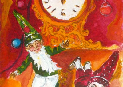 Dwarfs, Christmas, watercolor, original greeting card by © MariAnna MO Warr