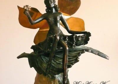 Elf, bronze, soapstone, brass, patina by © MariAnna MO Warr