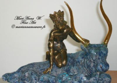 Abduction of Europa, mixed technique, bronze, white clay, blue glaze, brown patina by © MariAnna MO Warr
