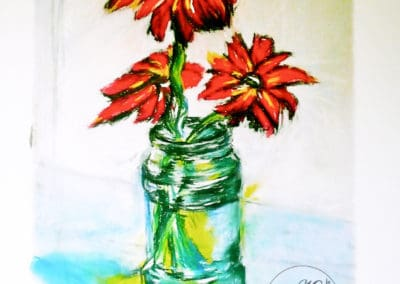 Daisies in water, Art limited edition print, original pastel, large size by © MariAnna MO Warr