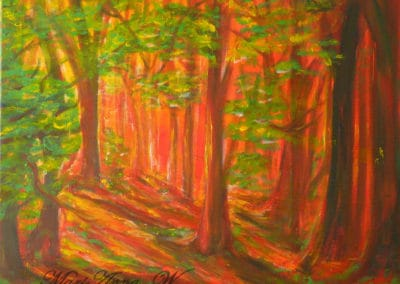 Mystical Forest in Red, acrylic on canvas by © MariAnna MO Warr