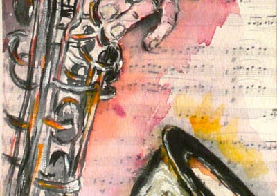 Jazz&Blues, Collection: Ballet, Music, watercolor, original greeting card by @ MariAnna MO Warr