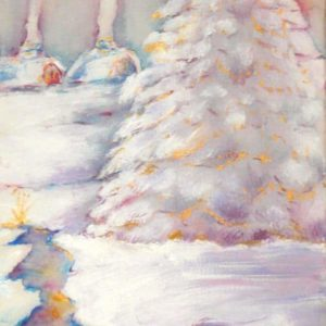 Winter Day, January, mixed media, watercolor and acrylic on canvas by © MariAnna MO Warr
