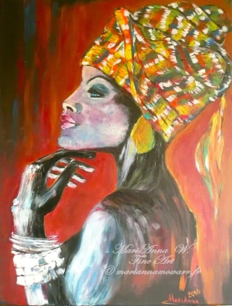 Meditation, acrylic on black canvas by © MariAnna MO Warr