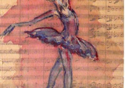Partition, Collection: Ballet, Music, watercolor, original greeting card by @ MariAnna MO Warr