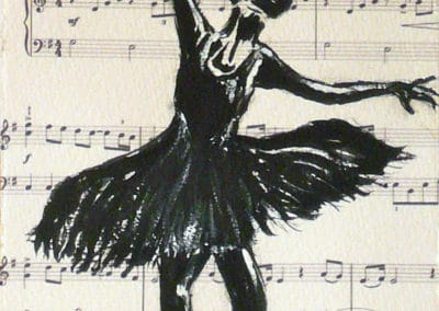 Partition2, Collection: Ballet, Music, watercolor, original greeting card by @ MariAnna MO Warr
