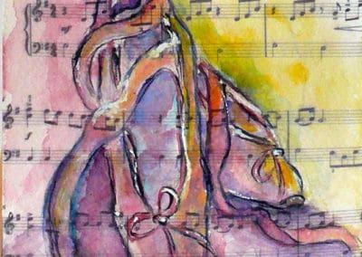 Pas de deux, Collection: Ballet, Music, watercolor, original greeting card by @ MariAnna MO Warr