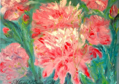 Peonies, oil on canvas by © MariAnna MO Warr