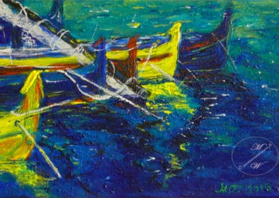 Boats in Summer, acrylic on canvas by © MariAnna MO Warr