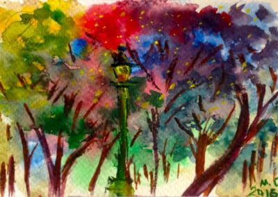 Night in the park, watercolor, original greeting card by @ MariAnna MO Warr